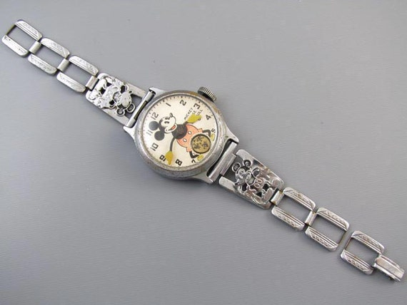 RUNNING Vintage Ingersoll Mickey Mouse character wrist watch original chrome band Art Deco 1930s