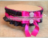 Satin Bridal Garter Set with Rhinestone Accents.. Shown in dark fuchsia/black...1 to Keep 1 to Toss...MANY COLORS AVAILABLE