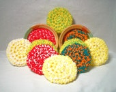 Yarn Scrubbies. Eco-friendly, scrubbers, home, many colors, handmade, home, kitchen, cleaning aid, gift, scour pads. Pick your 3pk.