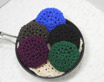 Pot Scrubbers, cleaning aids, kitchen scour pad, bakeware scrubbie, home cleaning aid. Dark Secrets Collection in a 5pk.