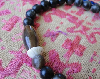 BLACK HORN with AGATE Bracelet, yoga, boho, tribal