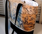TOILE TOTE BAG // Black & Yellow Ochre // Classic Print // Double Straps // Women's Purse // Country Scenes // Braided Gimp Trim