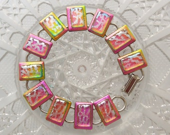 Pink Bracelet - Dichroic Fused Glass Bracelet - Glass Jewelry - Dichroic Jewelry - Fused Glass - Hippie Jewelry - Charm Bracelet X5996