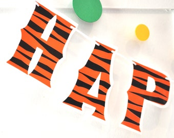 Tigger Birthday Banner, Tiger Birthday Decor, Winnie the Pooh Birthday Banner, Tigger Party Decor, Pooh Bear Birthday Party, HAPPY BIRTHDAY