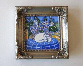 Original Acrylic Cat Painting on canvas, Framed Animal Painting, Hydrangeas, Landscape, gift idea