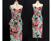 Vintage 80s Tropical Garden in Belize Dress