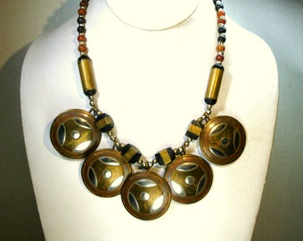 Brass 5 Disc BIB Necklace, 1970s Tribal Boho Earthy Metals, Age Patina, Woodstock Years. Black and Red Horn Beads