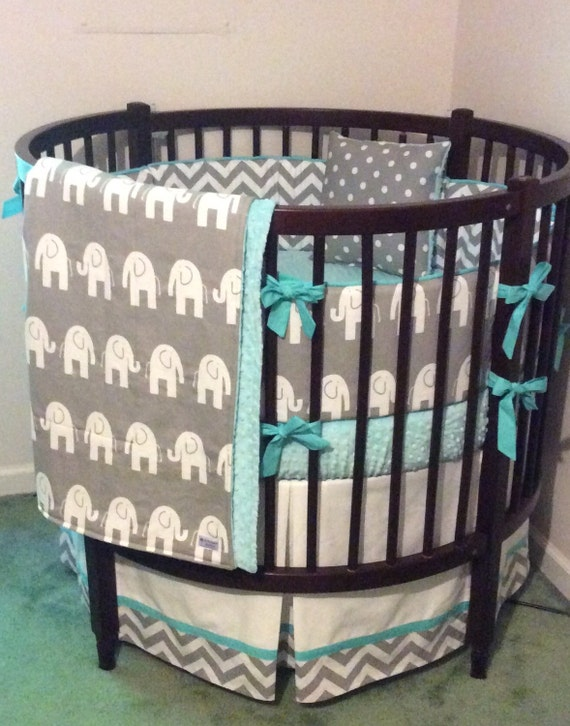 Round Crib Bedding Set Aqua Gray and White by butterbeansboutique