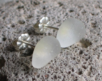 Soft White Sea Glass Sterling Silver Studs Post Earrings (665)