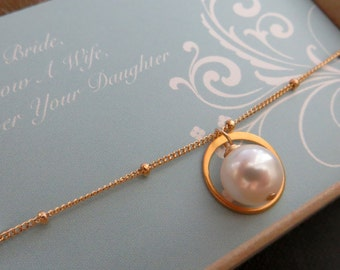 Mother of the bride small eternity necklace, mom gifts, pearl necklace, wedding jewelry, maid of honor, bridesmaid, bridal party, elegant