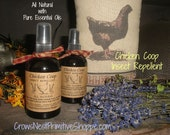 All Natural Chicken Coop Insect Repellent made with pure essential oils including lavender rosemary neem geranium eucalyptus mint spray
