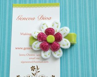 Lime and Fuchsia Glitter Felt Flower Clip