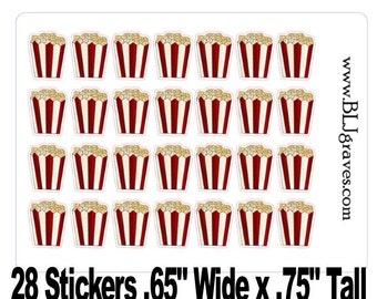 Popcorn Movie Stickers Perfect for your Erin Condren Life Planner, Plum Planner, Filoflax, calendar or scrapbook Stickers PS004