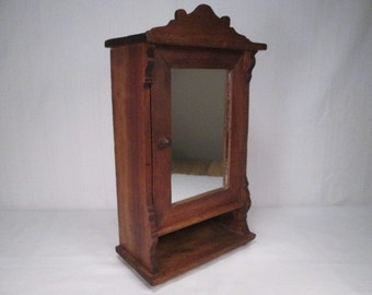 "Antique Wooden Wardrobe or Cupboard for Display or Doll Storage - 12"" Tall"