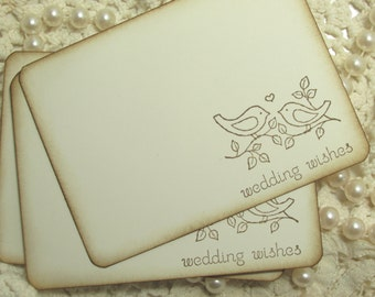 Wedding Wish cards with Love Birds.  Guest book alternative.  Wedding Wishes