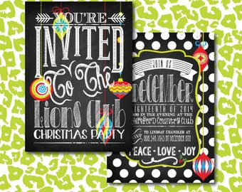 DIY Vintage Christmas Ornament Party Invitation