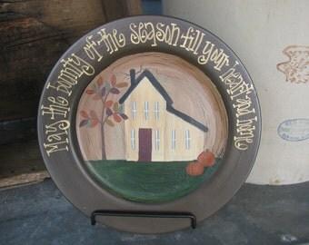 Primitive Fall Bounty Saltbox House Hand Painted Decorative Autumn Plate GCC1096