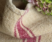 Nr. A111/a  Grain Sack antique FADED AUBERGINE RED pillow benchcushion 36.22 long wedding decoration