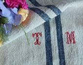 Nr. A160:  antique handloomed DEEP BLUE grain sack for pillows cushions runners 19.69 wide