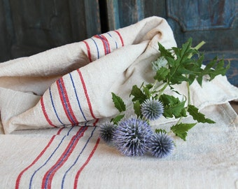 A 26:  antique handloomed RED and BLUE grain sack for pillows cushions runners 19.69 wide