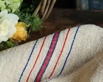 Nr. A83: Grain Sack antique  RED and BLUE style organic pillow benchcushion 18.5 inches wide wedding decoration