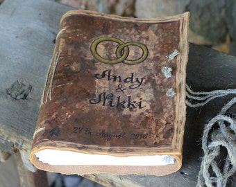 Custom Wedding Guest Book leather rustic wedding guest book with wedding rings and names bridal shower engagement anniversary