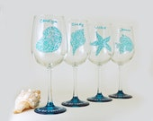 Personalized wine glass - Sea creatures - Set of 4 hand painted large wine glasses - Sea Glass Collection