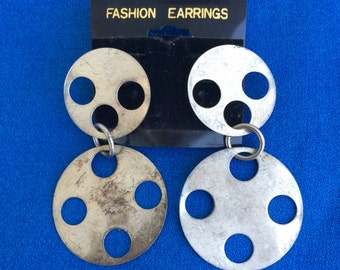 Vintage 1980s Earrings Round Circle Metal Shapes 80s Dangle Drop Jewelry Dead Stock, So Great!