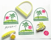 hawaii snow globe rubber stamps | summer tropical island | palm tree sun | diy birthday card making | hand carved by talktothesun | set of 4