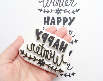 happy winter hand carved rubber stamp. hand lettered holiday wish stamp. holidays crafts. gift wrapping. scrapbooking. card making. XL
