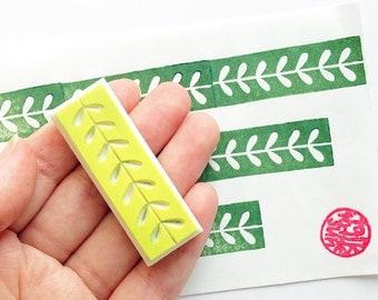 leaf washi tape stamp. hand carved rubber stamp. nature inspired stamp. birthday card making. diy wedding favor bags. holiday crafts