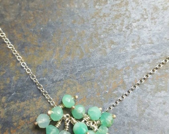 Chrysoprase Cluster Necklace