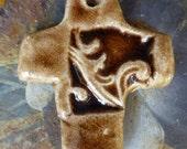 Artisan Rich Brown Scroll Ceramic Handmade Cross Pendant RTC Pottery Carrie Wainwright Design Studio