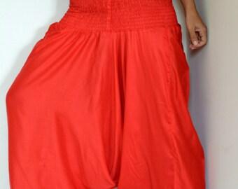 Red Harem pants/ Unisex Harem /Hippie Pants/Gypsy Pants/Romper/Genie pants/Yoga pant/Bohemian pants/wide leg pants/harem Pants/Jumpsuit