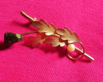 Gold Tone Vintage pearl Brooch, Green Gemstone Leaf Pin