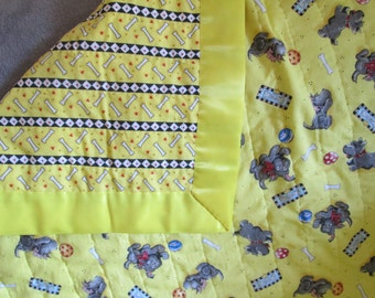 Hand Quilted Yellow Blanket with Dogs and Satin Binding