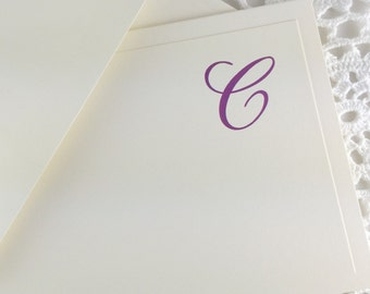 Personalized Stationery with Initial Purple on Cream Custom Stationery by Lime Green Rhinestones