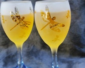 Blue Stemmed Dragonfly Frosted Etched Wine Glasses Set Of 2