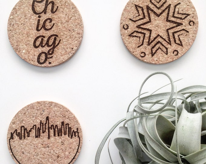 chicago themed cork coaster, mix and match