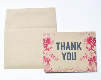 Thank You Floral Screen Printed Greeting Card