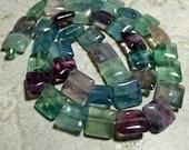 Rainbow Fluorite 10mm Squares Gemstone Beads Free Shipping Jewelry Making