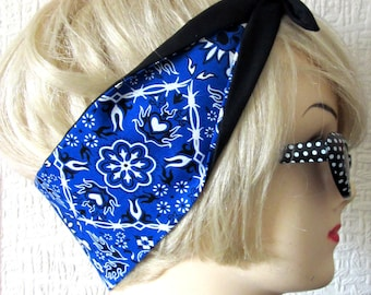 Skull Hair Tie Bandana Style Western Print Fabric Head Scarf by Dolly Cool