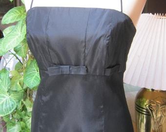 Vintage black satin taffeta empire waist gown, Audrey Hepburn retro black fitted gown, bare shoulders black gown, size 8 Jim Hjelm gown