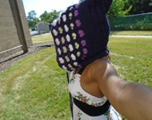 pixie purple mulicolor crochet heart wool mohair hood hat
