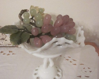 Antique Lace Edge Fluted Milk Glass Fotted Compote Centerpiece Bowl