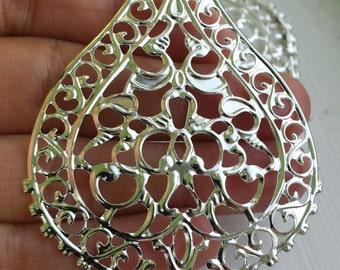 10  -  silver Antique style filigree stamping lace pendant drop
