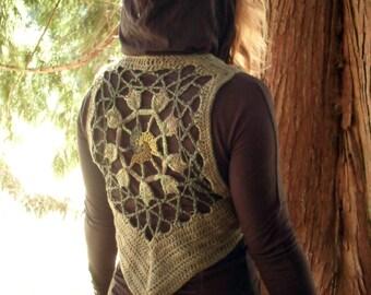 Crochet Boho Fairy Triskelion Hemp Wool Vest in Sage Green Ready to Ship