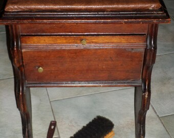 antique shoe shine stool box cast iron JCT foot form and clamp, pull out table compartment bench cabinet