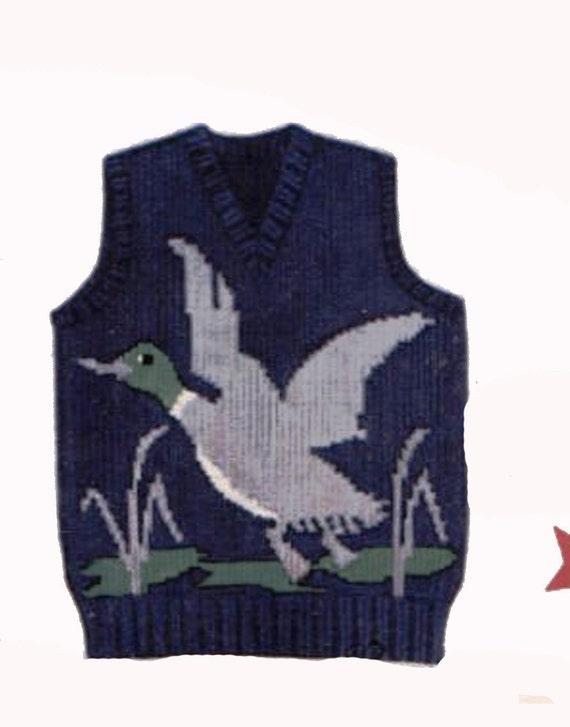 Knitting PATTERN Mallard Duck pull over Sweater or V neck ...