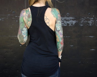 Black Organic Scoop Neck Racerback Eco Tank Top Shirt|Cowl Neck Shirt|Casual Shirt|Black Singlet|Black Tunic|Plus Size Shirt|Maternity Shirt